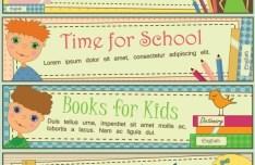 Set Of Vintage Cartoon Back to School Banners Vector