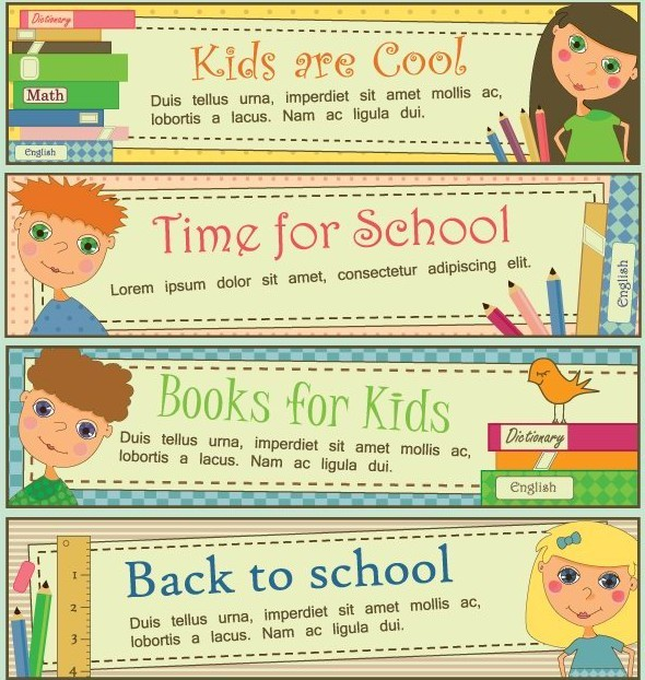 Set Of Vintage Cartoon Back to School Banners Vector