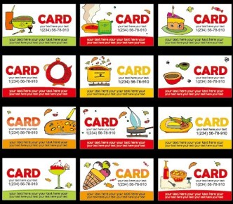 Collection Of Vector Food Business Card Templates