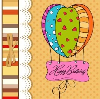 Cute Cartoon Happy Birthday Card Design Vector 02