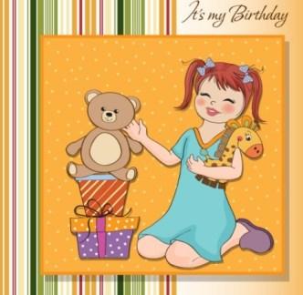 Cute Cartoon Happy Birthday Card Design Vector 03