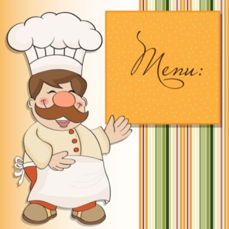 Cute Cartoon Restaurant Menu Design Vector
