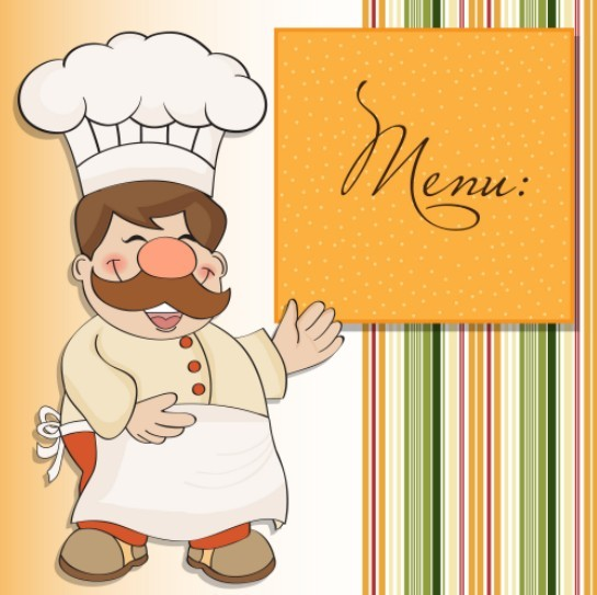 Cute Cartoon Restaurant Menu Design Vector