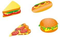 Flat Style Foods Vector Illustration