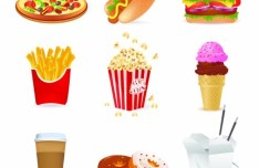 Set Of Vector Cartoon Foods Icons