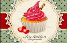 Sweet Floral and Dessert Invitation Card Design Vector 05