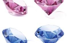 3D Colorful Diamonds Vector 01
