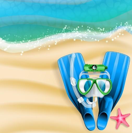 Summer Beach Diving Design Elements Vector