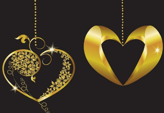 Vector Gold Heart Pendants For Valentine's Day 02