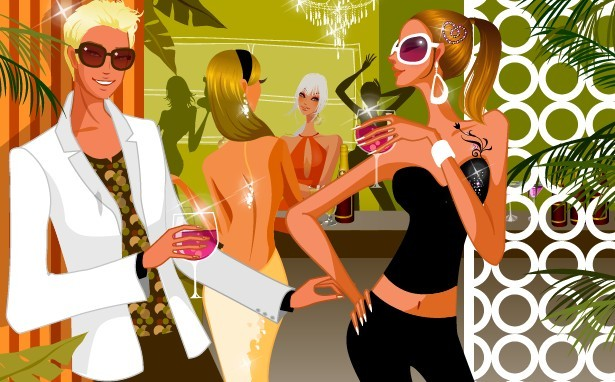 Vector Young People In A Night Club Illustration 01