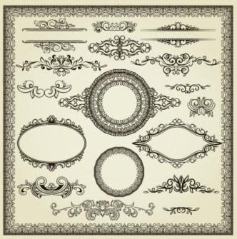 Vintage Black Royal Ornamental Patterns Vector