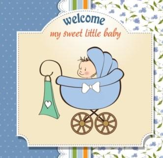 Elegant Cute Cartoon Baby Card Cover Vector 03