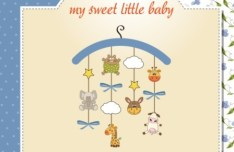 Elegant Cute Cartoon Baby Card Cover Vector 04