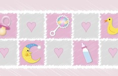 Pink Cartoon Stamp-Like Baby Supplies Vector