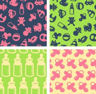 Set Of Cute Baby Supplies Patterns Vector