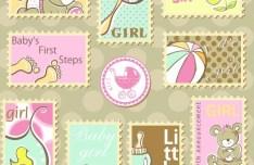 Set Of Cute Cartoon Stamps Vector
