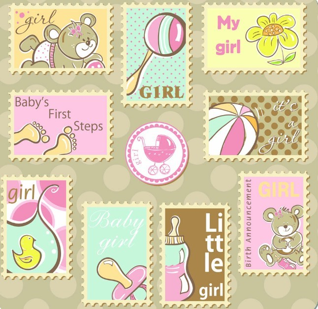 Set Of Cute Cartoon Stamps Vector