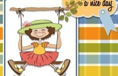 Sweet Little Girl Card Cover Design Vector 01