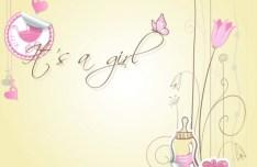 Vector Cartoon Pink Baby Card Design