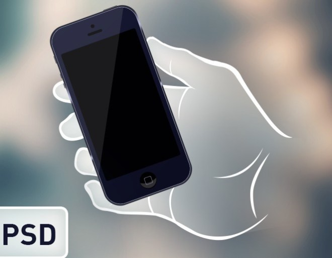 Black iPhone 5 In Hand Mock PSD Vector