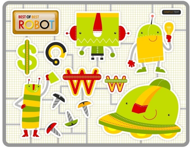 Creative Cartoon Robots Vector
