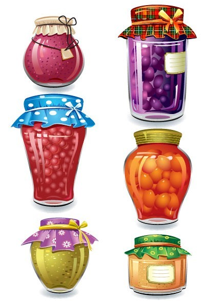 Set Of Vector Canned Fruit Icons 01