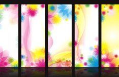 Set Of Vector Sweet Flowers Banner Design Templates