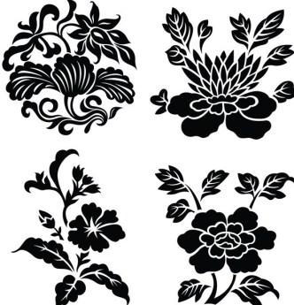 Black Vintage Flower & Plant Patterns Vector 01
