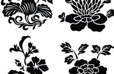 Black Vintage Flower & Plant Patterns Vector 01
