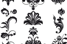 Black Vintage Flower & Plant Patterns Vector 02