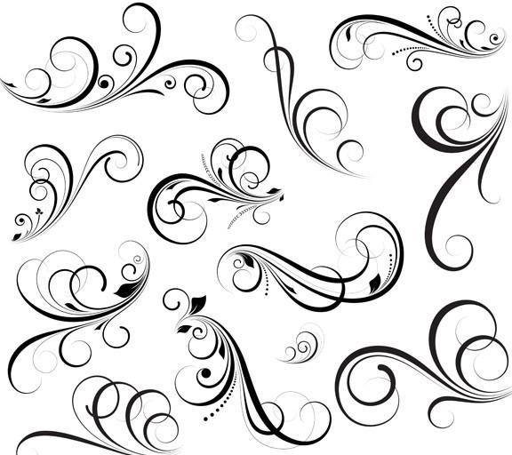 Flourish Swirl Floral Corner Patterns Vector 01