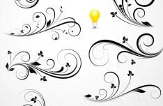 Flourish Swirl Floral Corner Patterns Vector 04