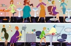Vector Beauty Salon Workers Illustration 02
