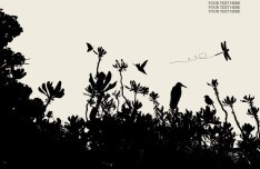 Vector Trees and Birds Silhouette 04