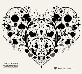 Vintage Style Floral Ornamental Love Heart Vector 01