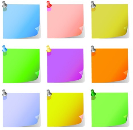 Set Of Vector Cartoon Sticky Notes For Kids 02