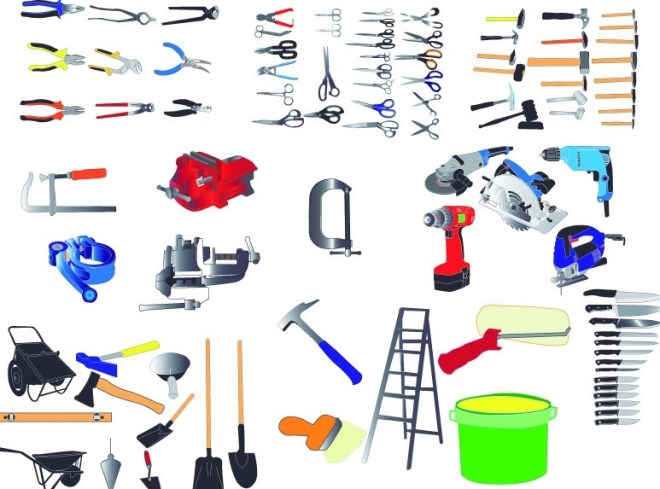 Set Of Vector Power & Hand Tools