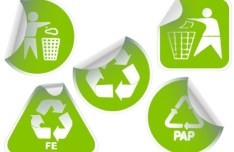 Set of Green Recycling Concept Stickers Vector 03