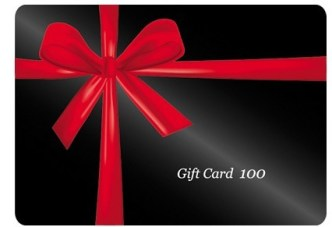 Dark Gift Card With Red Ribbons Vector