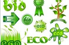 Green ECO & BIO Concept Icons Vector