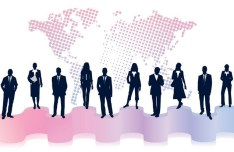 Business Men Silhouettes With World Map Background 02
