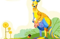 Cute Cartoon Kangaroo Illustration Vector