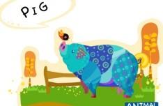 Cute Cartoon Pig Illustration Vector