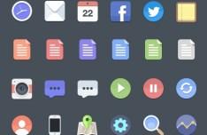 24+ Flat Web Icons PSD