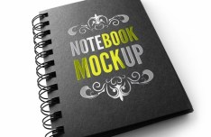 Dark Notebook PSD Mockup
