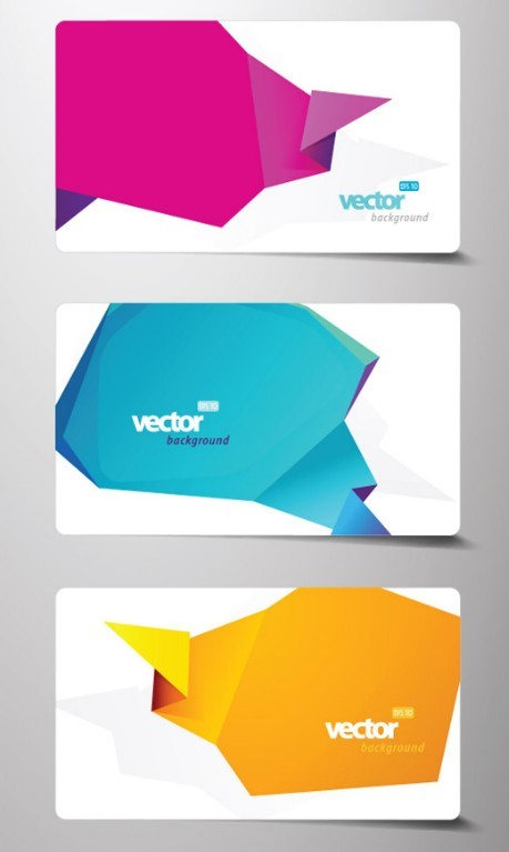 Free Set Of Fashion Business Cards With Abstract Origami Backgrounds