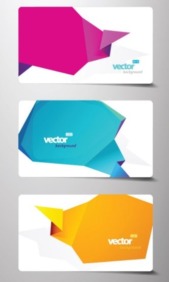 Set Of Fashion Business Cards with Abstract Origami Backgrounds