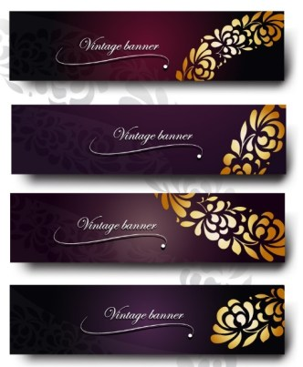 Set Of Purple Banners with Vintage Floral Patterns Vector