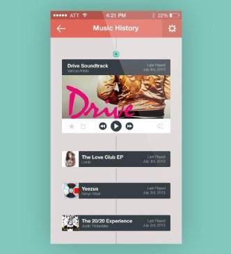 iOS 7 Style Music History APP GUI PSD