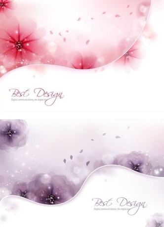Fresh and Clean Flower & Abstract Curves Card Background Vector